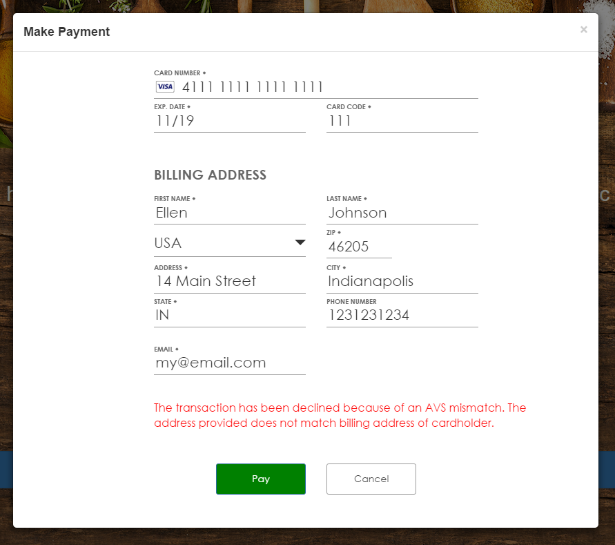 pre authorized credit card payment form