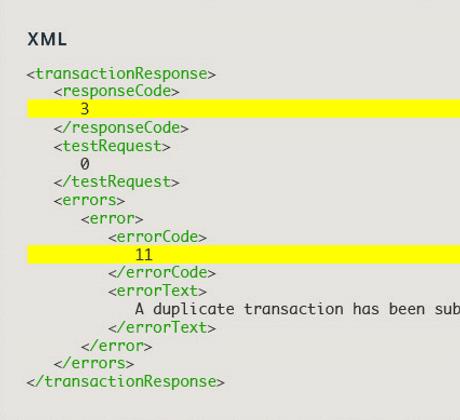 Transaction Response Codes XML ...